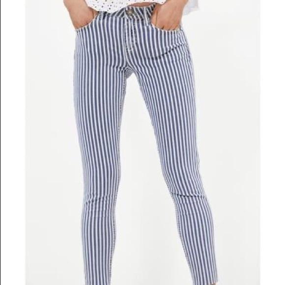 Zara denim railroad stripe skinny jeans